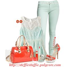 """Fire Red & Mint"" by steffiestaffie on Polyvore"