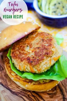 Tofu Burgers are made with soft tofu that is blended with seasonings and shaped into a burger. A delicious vegan recipe for those who eat meat alternatives. Tofu Burger, Vegan Burgers, Tofu Sandwich, Veggie Recipes, Vegetarian Recipes, Healthy Tofu Recipes, Silken Tofu Recipes, Burger Patty Recipe, Scrambled Tofu Recipe