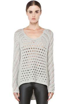 a96bd3b8fb HELMUT LANG Inherent Texture Light Grey High Low Open Knit Wool Sweater  P XS