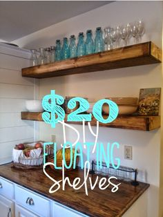 Floating shelves in bathroom! ---- Fixer Upper Look: 14 DIYs to Get the Look - Page 2 of 3 - The Weathered Fox Fixer Upper Look DIY. You don't need to be a guest on the Fixer Upper show to get the Fixer Upper Look. Here are 14 ideas you can do yourself. Floating Shelves Kitchen, Kitchen Shelves, Bar Shelves, Storage Shelves, Dinning Room Shelves, Cheap Floating Shelves, Floating Cabinets, Shelf Display, Floating Wall