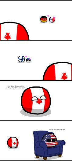 Love can be confusing. ( Canada, USA, Germaney, France, Finland, Estonia ) by Baron koleye of kolaje #polandball #countryball