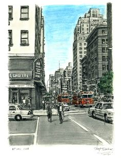 New York street scene with Fire Engines - drawings and paintings by Stephen Wiltshire MBE