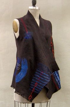 Visit the post for more. Sleeveless Coat, Altered Couture, Sewing Clothes, Refashion, Indigo, Fashion Outfits, Vests, Taupe, Marcy Tilton