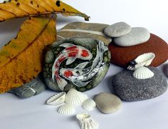 """Painted stones Painted rocks """"Two Koi"""" Astrology Sign Fishes Fishing Signs, Painted Stones, Astrology Signs, Stone Painting, Rock Art, Feng Shui, Koi, I Shop, Unique Jewelry"""