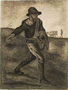 The Sower 1881 - Vincent Van Gogh, pen and watercolor on paper, one of his earliest known works.