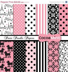 40 off SALE Paris Poodle Digital Papers by cocoamint on Etsy, $1.80