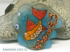 HAPPY FISHhandmade lampwork bead focal by by AnastasiaBEADS, $115.00