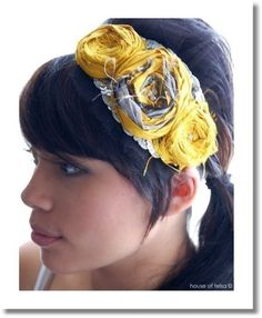fabric flower headband - wonder if A will rip this off too? Making Fabric Flowers, Fabric Flower Headbands, Cute Headbands, Diy Headband, Homemade Headbands, Rosette Headband, Fabric Bows, Mellow Yellow, Bright Yellow