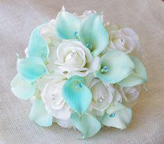Silk Flower Wedding Bouquet  Tiffany Blue Calla Lilies by Wedideas, $105.00