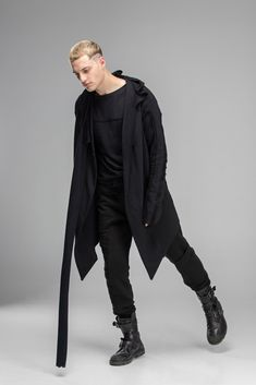 Browse our unique collection of urban hooded coats. Top quality mantle in black color ⎜Designer clothing⎜Worldwide delivery⎜Top Quality Cyberpunk Clothes, Cyberpunk Fashion, Kimono Cardigan, Black Cardigan, Casual Outfits, Fashion Outfits, Men's Fashion, Dark Fashion, Fashion Ideas