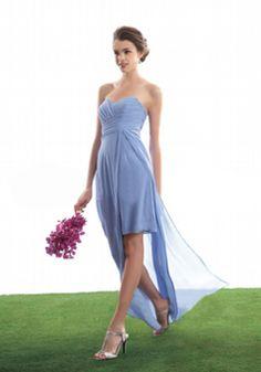 Sweetheart Floor Length Chiffon A line Sleeveless Asymmetric Waist Bridesmaid Dress - Angeldress.co.uk