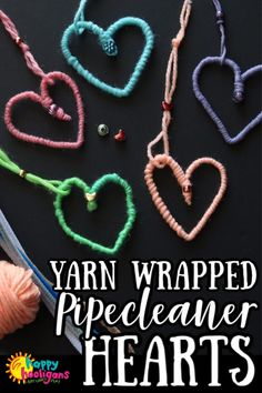 These yarn-wrapped pipe cleaner hearts are fun and easy to make as a Valentines craft or any day of the year. Hang them individually or string them into a mobile. Great fine-motor craft for tweens and teens. Easy Yarn Crafts, Yarn Crafts For Kids, Quick And Easy Crafts, Crafts For Teens, Teen Crafts, Preschool Crafts, Homemade Valentines, Valentine Day Crafts, Holiday Crafts