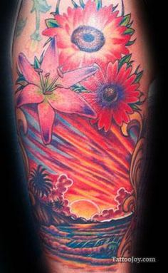 Flowers Sunset Tattoo...While this is lovely, I am saving it for the color in the sun.