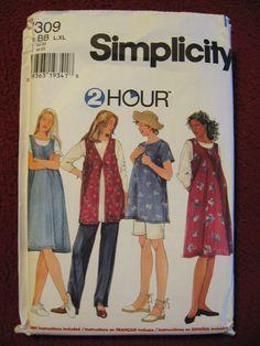 Simplicity Maternity 2 Hr Pattern UncutTunic Jumper Pants Shorts L XL18 20 22 24 OOP 7309. $3.00, via Etsy.