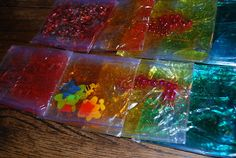 Sensory bag ideas - add foam board to the back and cute duct tape around edges to make it more stable.