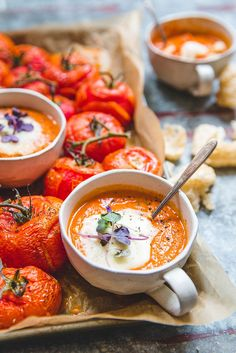 Tomato soup with melted mozzarella cheese from circahappy.com