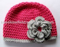 crochet flower patterns for hats | baby_crochet_hats_crocheted_flowers_hat.jpg