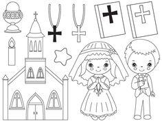 70% OFF SALE Communion Clipart - Digital Vector First Communion, Religion, Christian, Kids Clip Art