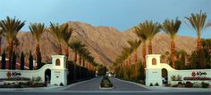 If you weren't already excited about your Indian Wells trip, this gorgeous entrance to the La Quinta Resort and Club oughta do the trick! Desert Oasis, Palm Desert, Fun Deserts, Rancho Mirage, Coachella Valley, Living In La, Resort Spa, Places To See, Monument Valley