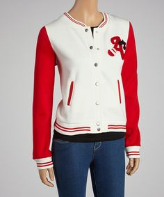 $16.99! Take a look at this White & Red Athletic Jacket by Zenana on #zulily today!