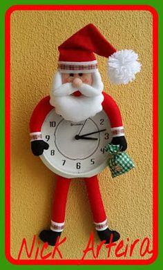 relógio papai noel em feltro; clock santa claus felt christmas; christmas; santa claus; felt; relógio; papai noel; feltro parte 1