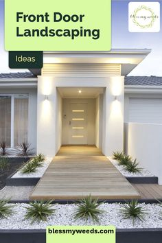 Fabulous Front Door Landscaping Ideas For The Entryway - Front door landscaping ideas that take your home's entrance from hum-drum to fabulous! Make an inviting entryway that really stands out from the rest. Small Front Yard Landscaping, Stone Landscaping, Garden Entrance, Front Door Entrance, Front Doors, Landscape Design Plans, House Landscape, Modern Front Yard, Wooden Walkways