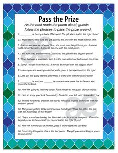 Pass The Gift Bridal Shower Game Free Printable http:/chasingayden ...