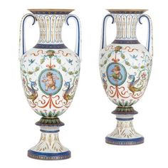Pair of Baccarat opaline glass vases | By Baccarat (French, founded 1764) | French | 19th Century. More details online at mayfairgallery.com Opaline, Vase, Glass Vase, Glass, Vases For Sale, Baccarat