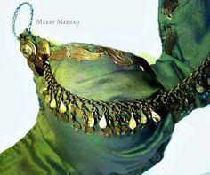 Green silk Tribal Fusion Belly Dance bra  Thyiades  от MerryMaenad