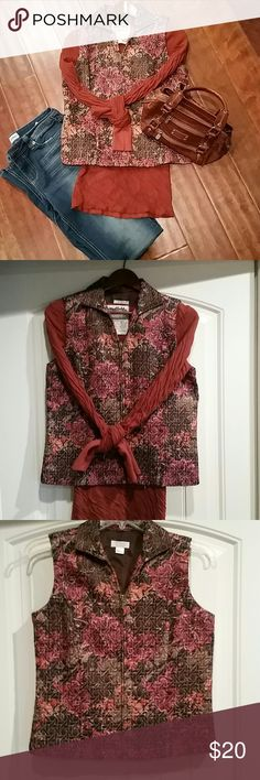 Christopher & Banks Quilted Vest, Size S A fabulous, fun Fall piece to add to your closet. This Christopher & Banks Quilted Vest will go with jeans, leggings, skirts, and shirts in a multitude of colors...browns, tans, rusts, oranges, roses, and plums. It's a thin vest that's perfect for when you need a little extra warmth, but not a lot of bulk. Smoke-free and pet-free household. Christopher & Banks Jackets & Coats Vests