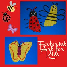 Ladybug, Bumblebee, and Butterfly Footprint Crafts for Kids