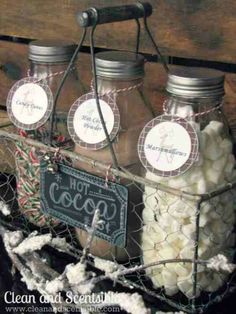 Christmas Gifts for Family and Friends! Hot Cocoa Bar Kit | http://diyready.com/60-cute-and-easy-diy-gifts-in-a-jar-christmas-gift-ideas/