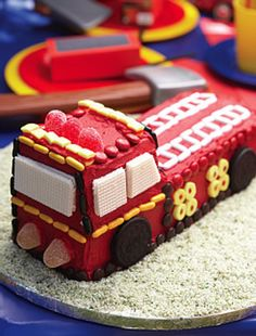 Not as cute as a fireman sam cake, but more doable. :)