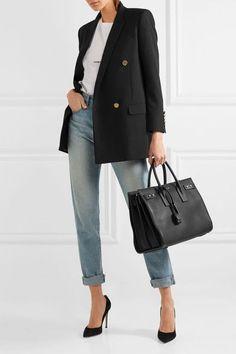 Saint Laurent - Sac De Jour Medium Textured-leather Tote - Black