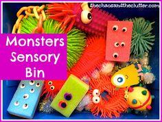 Monsters Sensory Bin- אני אוהבת מפלצות. והתחום הסנסורי בהחלט חייב אצלנו חיזוק