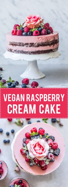 A cute and delicious Vegan Raspberry Cream Cake is perfect for a plant-based celebration. | www.vibrantplate.com