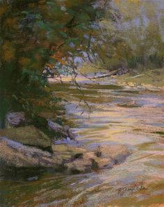 "Daily Paintworks - ""Vickery Creek Curve"" - Original Fine Art for Sale - © Barbara Jaenicke"