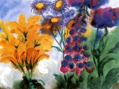 "Emil Nolde ""Orange and Violet Blossoms and Red Foxgloves"""