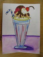 Wayne Thiebaud inspired ice cream sundae drawing