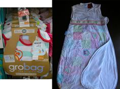 2 X 6-18 month 1 tog Gro-bag (summer) For baby to sleep in, during summer when they are too old to be swaddled.  Has 100% cotton lining and outer.  Armless design allows them to keep from overheating.  Some have an upside down zip so you can change nappy more easily and keep rest of baby warm.  Saves baby from getting cold when they kick off all their blankets.