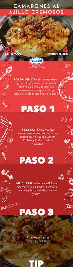 Sabemos que te encanta saber el paso a paso de tus recetas, como estos Camarones al ajillo.   #recetas #receta #quesophiladelphia #philadelphia #quesocrema #queso #comida #cocinar #cocinamexicana #recetasfáciles #recetasPhiladelphia #recetasdecocina #comer #camarones #ajillo #guisado #mariscos