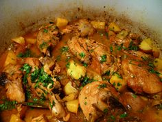 Pollo Guisada starts with sofrito, the base of Puerto Rican cuisine.  Sofrito is to Puerto Rican food what a mirepoix is to French cooking or the trinity is to Cajun/Creole Cuisine. The Guisada was full of pieces of chicken on the bone, peppers, garlic, onions, herbs, tomato sauce, potatoes, and cilantro.  Delicious!!!  The recipe follows and I heartily recommend that you try this one.  Your family will love it.