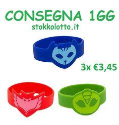 €3,45 - 3 bracciali braccialetti a tema pj masks super pigiamini gufetta Geco Gattoboy gadget economici a poco prezzo a €1 per fine festa compleanno bambini super eroi da regalare come ricordino di ringraziamento http://stokkolotto.it #pjmasks #gattoboy #geco #gufetta #superpigiamini #gadgetbambini #gadget #gadgetcompleanno
