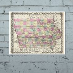 Antique Map of the State of Iowa ca 1855 Posters by PortofPrints