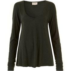 American Vintage Dark Green V-Neck Long Sleeve Top ($47) ❤ liked on Polyvore