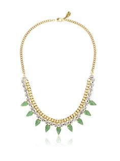 Yochi Pear Drop Necklace Chain and crystals create a glam look with an edge, finished with eye-catching green prong-set stones Women #Home #Jewelry
