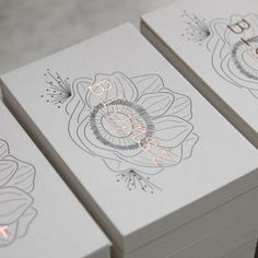 This is a beautiful business card. Grey litho to rose gold letterpress business cards