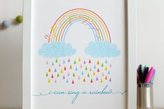 i can sing a rainbow This bright and colourful print with its beautiful rainbow and nursery rhyme theme will make a wonderful addition to any
