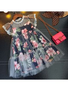 Buy Floral Prints Fly Sleeve Dress online with cheap prices and discover fashion… - Wedding Dresses Kids Frocks, Frocks For Girls, Little Dresses, Little Girl Dresses, Cute Dresses, Girls Dresses, Cheap Dresses, Baby Dresses, Dresses Dresses