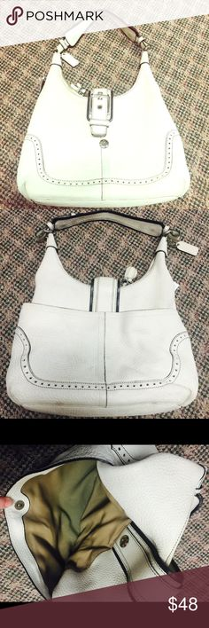 Coach Handbag White ivory leather, buckle and zipper clasp with small zipper tassel. Has discoloration due to use on handle, bottom and in size bag. Coach Bags Shoulder Bags
